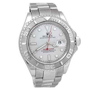 Pre-owned 40mm Rolex Stainless Steel Oyster Perpetual Yachtmaster Watch with Platinum Dial and Bezel