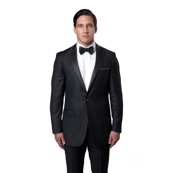 Mens Tuxedo 2 pcs. Satin Peak Lapel Fabric Trim Slim Fit Tuxedo Suit - gray