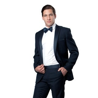 Mens Tuxedo 2 Pieces Satin Peak Lapel Slim Fit Tuxedo Suit