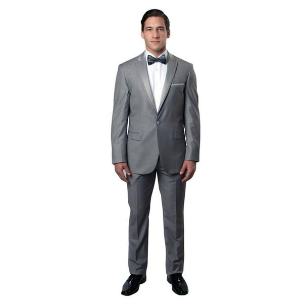 Mens Tuxedo 2 pcs. Satin Peak Lapel Fabric Trim Slim Fit Tuxedo Suit