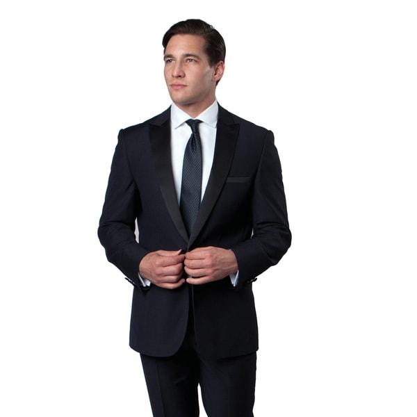 Mens Tuxedo 2 Pieces Satin Peak Lapel 1 Button Slim Fit Tuxedo Suit
