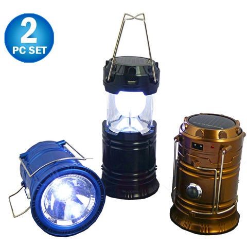 Solar Rechargeable Tactical 3-in-1 Bright Collapsible LED Lantern, Flashlight, And USB Charging Station (2pc)