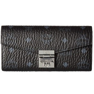 MCM Patricia Visetos Large Black Wallet