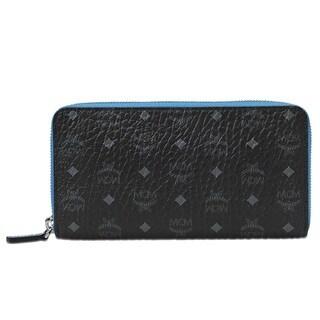 MCM Colored Visetos Zipped Black Wallet