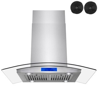 AKDY RH0358 36 in. Kitchen Island Range Hood in Stainless Steel with Tempered Glass LEDs and Carbon Filters