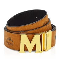 MCM Men's Claus Reversible Cognac/Gold Buckle Belt