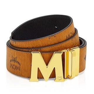 MCM Men's Claus Reversible Cognac/Gold Buckle Belt