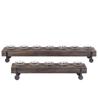 UTC31517: Wood Rectangular Candle Holders with Glass Cups Set of Two Coated Wood Finish Dark Brown