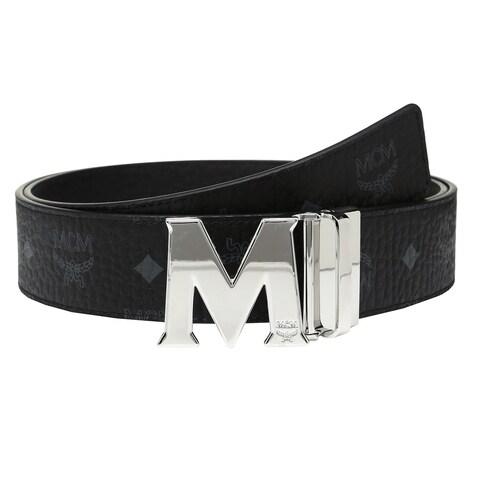 MCM Claus Reversible Black/ Silver Buckle Belt