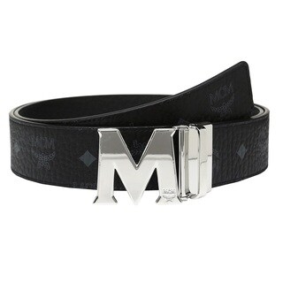 MCM Claus Reversible Black/ Silver Buckle Belt