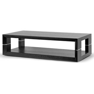 Akia Modern Black Wood Finish Coffee Table with Silvertone Accent Legs