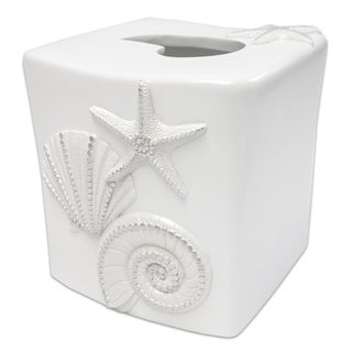 By The Sea Tissue Box Cover- White