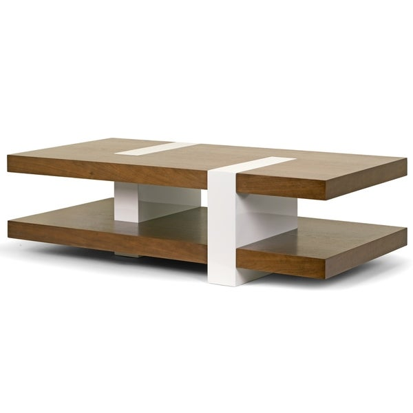 White Walnut Coffee Table: Shop Alani Modern Walnut Finish Coffee Table With Accent