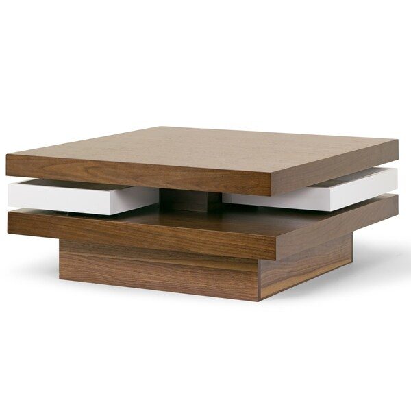 Aisha Walnut Finish Square Coffee Table With White Swivel Trays