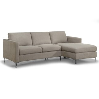 Alina Modern Sandy Grey Fabric Sectional Sofa with Removable Cushions