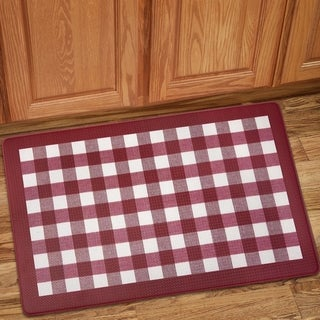 "Buffalo Check Printed Anti-Fatigue Kitchen Mat (18""x30"") Burgundy"