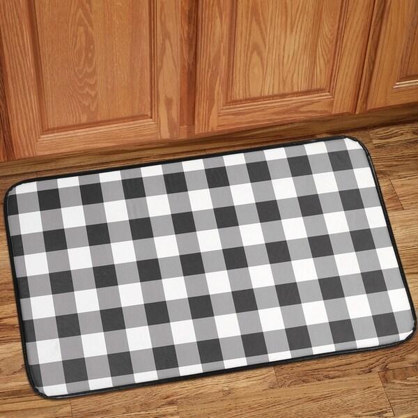 Buffalo Check Printed Anti Fatigue Kitchen Mat 18 X30 Black