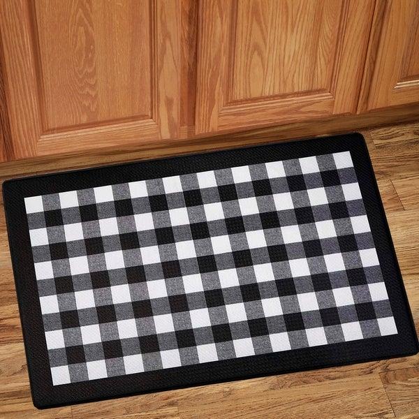 "Buffalo Check Printed Anti-Fatigue Kitchen Mat (18""x30"") Black/White"