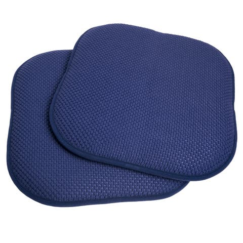 "Memory Foam Chair Pad/Seat Cushion with Non-Slip Backing (16""x16"") Navy"