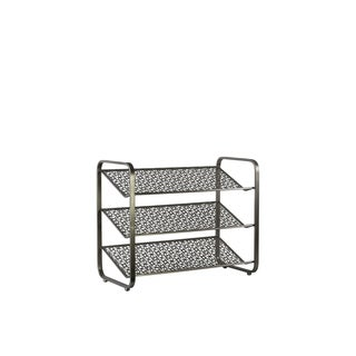 UTC32288: Metal Rectangular Shoe Rack with 3 Pierced Metal Tier Shelves Metallic Finish Gunmetal Gray