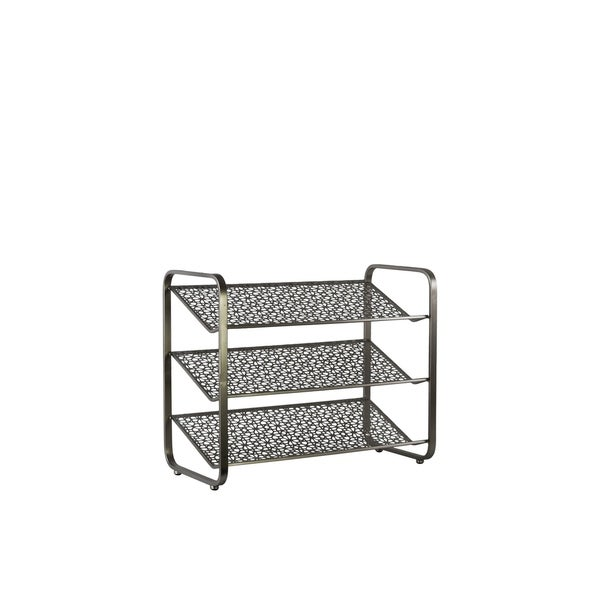 UTC32288: Metal Rectangular Shoe Rack with 3 Pierced Metal Tier Shelves Metallic Finish Gunmetal Gray