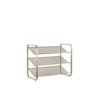 UTC32289: Metal Rectangular Shoe Rack with 3 Pierced Metal Tier Shelves Metallic Finish Gold