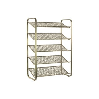 UTC32287: Metal Rectangular Shoe Rack with 5 Pierced Metal Tier Shelves Metallic Finish Gold