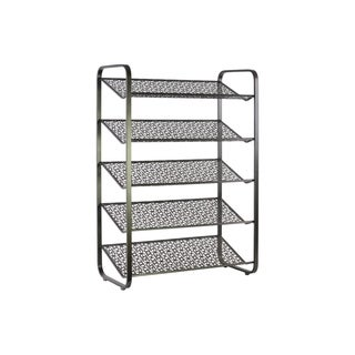 UTC32286: Metal Rectangular Shoe Rack with 5 Pierced Metal Tier Shelves Metallic Finish Gunmetal Gray