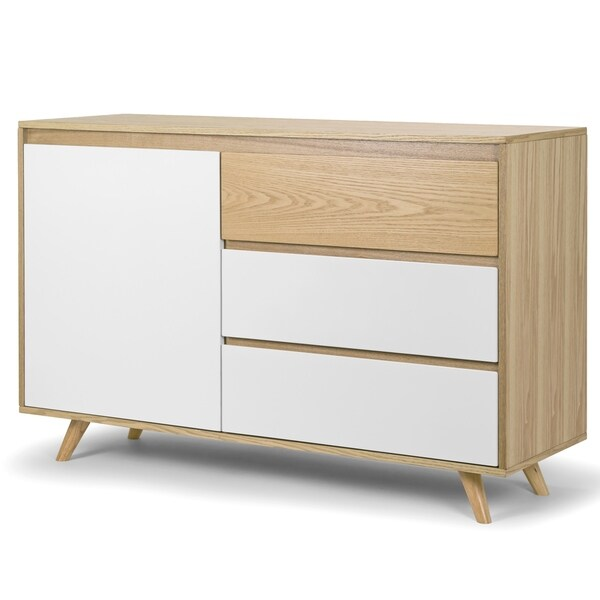 Alary Scandinavian Walnut Finish Side Board with White Accent Doors