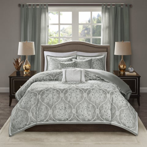 Madison Park Waylon Seafoam Green 6-piece Jacquard Duvet Cover Set