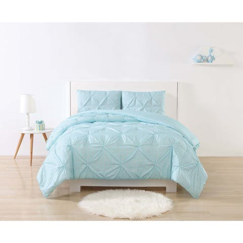 My World Gingham Printed Pinch Pleat 3-piece Duvet Cover Set