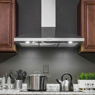 "AKDY RH0367 36"" Wall Mount Stainless Steel Push Panel Kitchen Range Hood Cooking Fan"