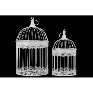 UTC44102: Metal Round Nesting Bird Cage with Dome Top and Hook Hanger Set of Two Coated Finish White