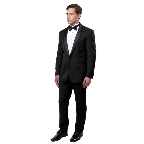 Mens Tuxedo 2 Pcs. Slim Fit Peak Lapel Satin Shawl Addition Tuxedo