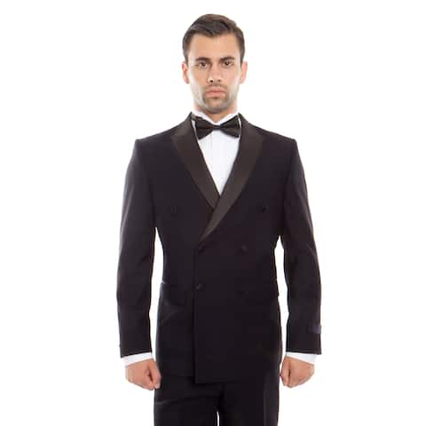 Mens Navy and Black Tuxedo Double Breasted Slim Fit Tuxedo Suit Set