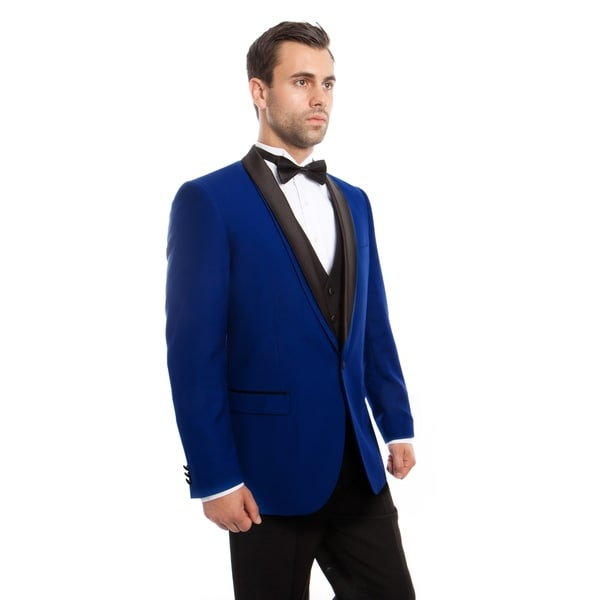 Mens Tuxedo 3 Pieces Shawl Lapel Double Slim Fit Tuxedo Suit