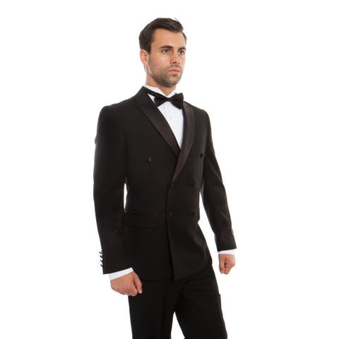 Mens Tuxedo Double Breasted Slim Fit Tuxedo Suit Set
