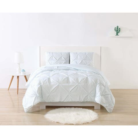 My World Dot Printed Pinch Pleat 3-piece Duvet Cover Set