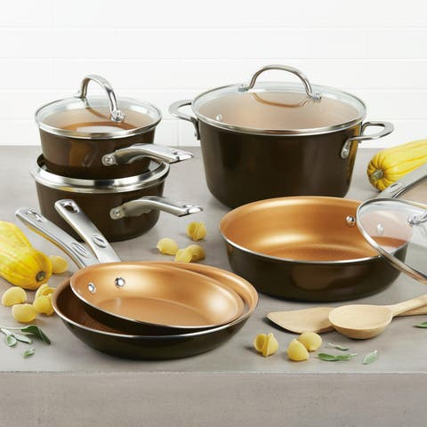 Ayesha Curry Home Collection Porcelain Enamel Nonstick Cookware Set, 12-Piece