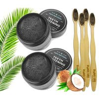 Two Natural Organic Activated Charcoal Whitening Powder and Toothpaste with Four Toothbrushes