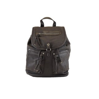 Hearty Trendy Washed Faux Leather Fashion Two Pocket Backpack