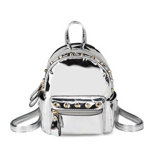 Hearty Trendy Shiny Metallic Mini Studded Backpack (Option: Silver)