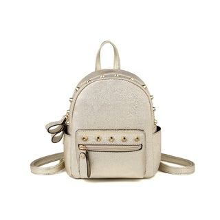 Hearty Trendy Faux Leather Pearl Dots Pattern Mini Backpack (Option: Gold)
