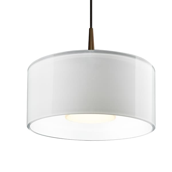 Bruck Lighting Cantara Bronze 4-inch Canopy Pendant with White Outer/ White Inner Shade
