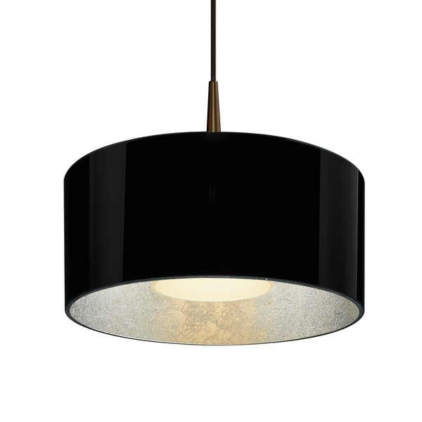 Bruck Lighting Cantara Bronze 4-inch Canopy Pendant with Black Outer/ Silver Inner Shade
