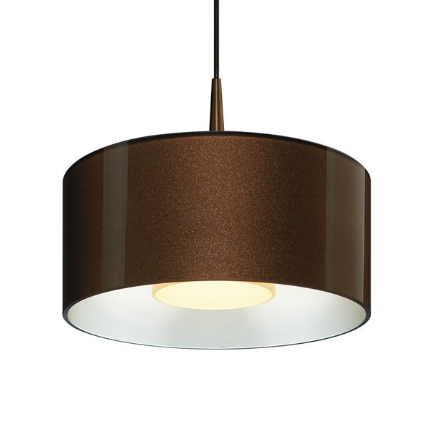 Bruck Lighting Cantara Bronze 4-inch Canopy Pendant with Bronze Outer/ White Inner Shade