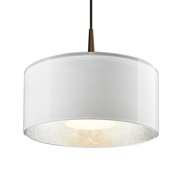 Bruck Lighting Cantara Bronze 4-inch Canopy Pendant with White Outer/ Silver Inner Shade