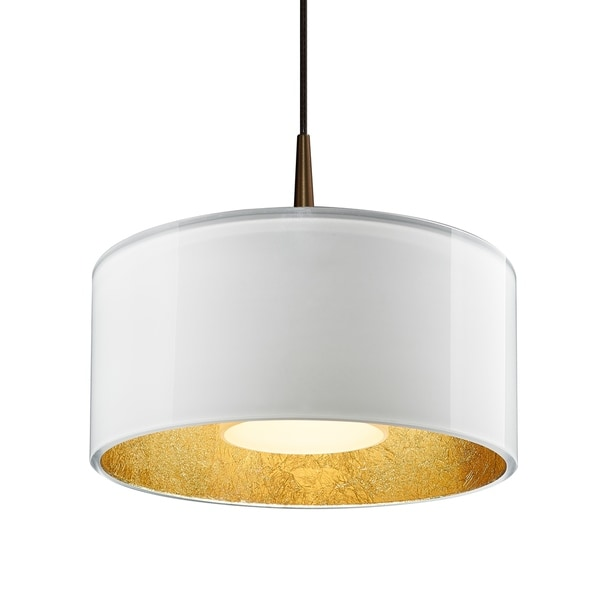 Bruck Lighting Cantara Bronze 4-inch Canopy Pendant with White Outer/ Gold Inner Shade