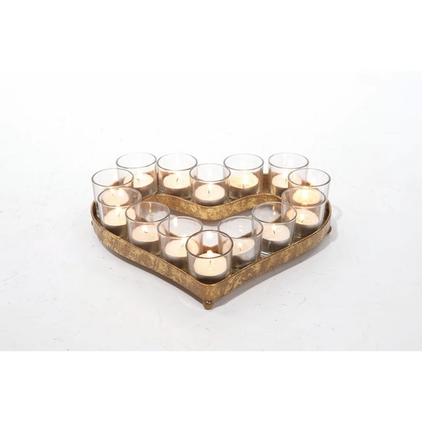 Transpac Metal and Glass Heart-Shaped Candle Holder