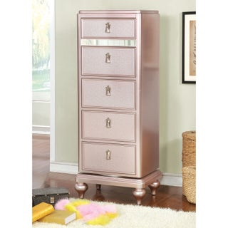 Furniture of America Ayeda I Transitional Glam 5-drawer Swivel Chest (Option: Rose Gold)